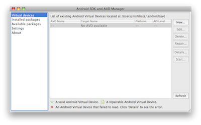 Android SDK and AVD Manager